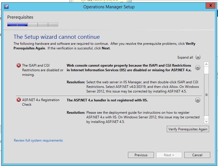 IIS Install, setup, web server, server roles, server features, SCOM Setup Error