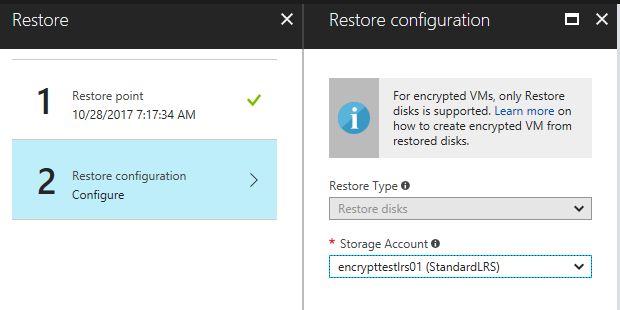encrypted Azure server recovery
