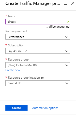 Create Traffic Manager Profile