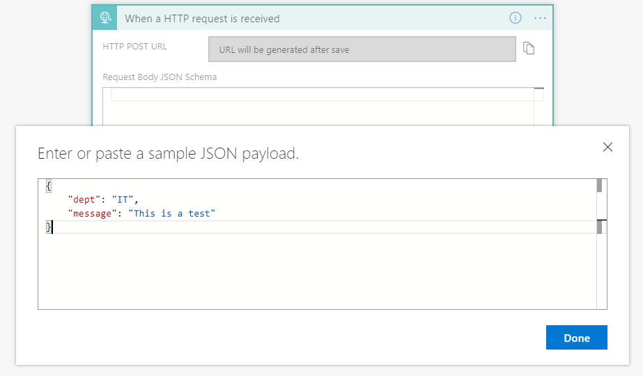 JSON Sample Payload