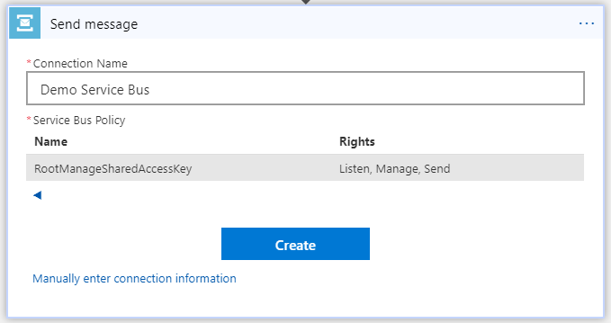 Select Shared Access Key