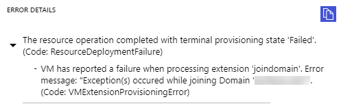 Domain Join Error