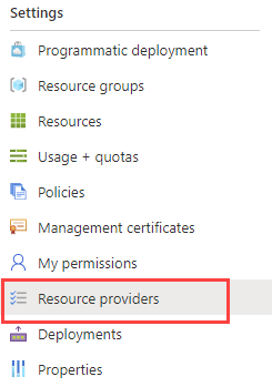 Resource Provider in the Azure Portal