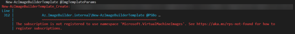 The subscription is not registered to use namespace 'Microsoft.VirtualMachineImages'