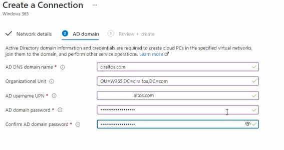 Create a Connection Domain