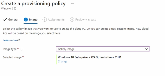 Create a Provisioning Policy Image
