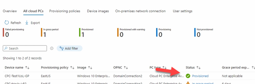 Provisioned Cloud PC